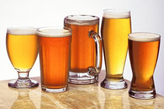 Beer in various types of glasses