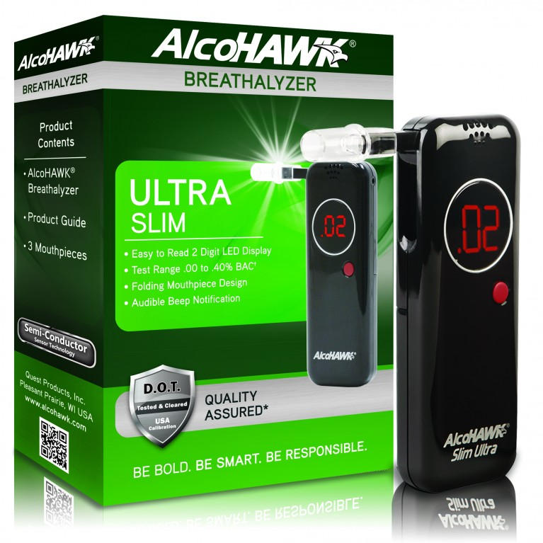 AlcoHAWK Ultra Slim Breathalyzer Digital Breath Alcohol Tester