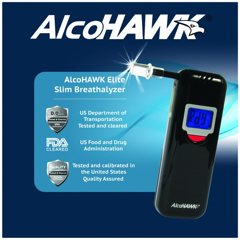 AlcoHAWK Elite Slim Breathalyzer, Digital Breath Alcohol Tester