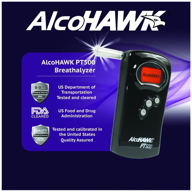 AlcoHAWK PT500 Fuel-Cell Breathalyzer, Digital Breath Alcohol Tester