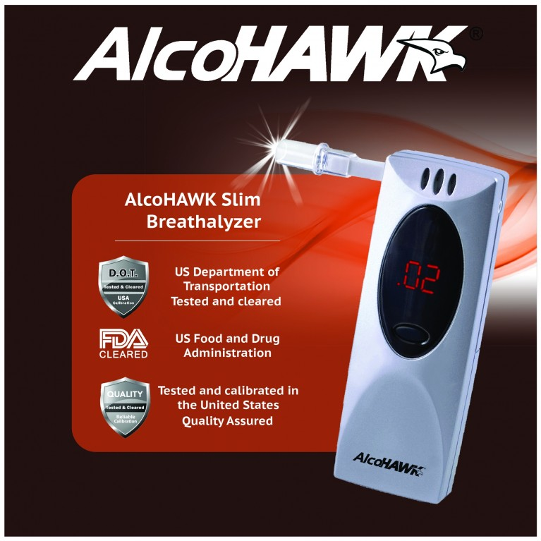 AlcoHAWK Slim Breathalyzer, Digital Breath Alcohol Tester
